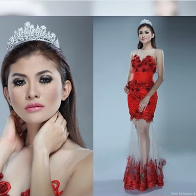 kebaya unik merah broklat model dress