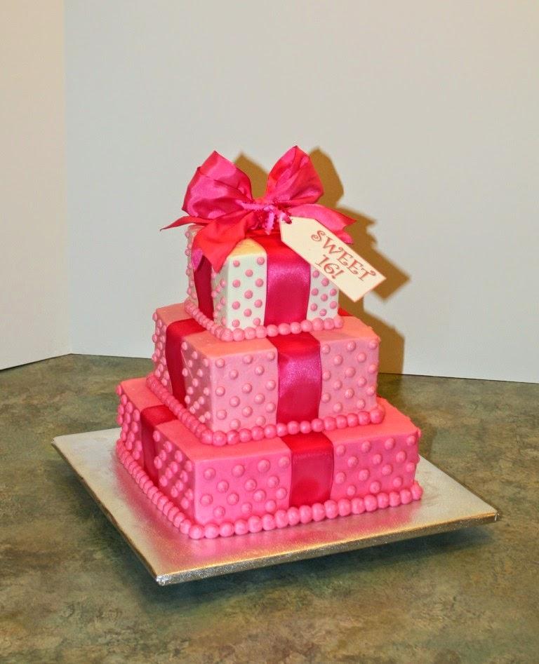 3 Tier Pink Sweet 16 Cake