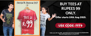 Buy  Freedom Fest Tees at Flat 25 % off & 15% cashback  Starting from  ? 99 Via freecultr.com :buytoearn
