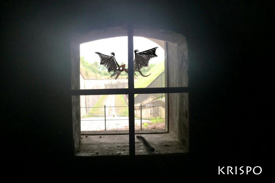 dibujo de dinosaurio pterodactilo tras ventana