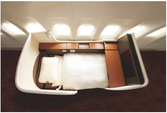 The new JAL Suite can turn into one of the biggest beds in the sky