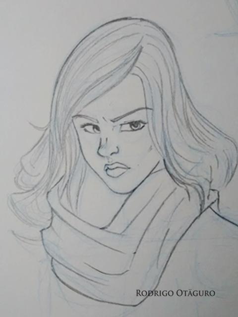 Desenho feito à lápis de Jessica Jones por Rodrigo Otäguro