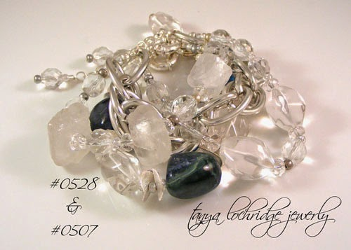 Fluorite & Crystal Quartz Gemstone Silver Potato Chip Bracelet