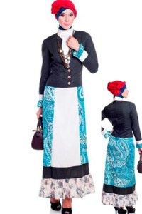 Esme Gamis E-010415 - Hitam Krem Hijau (Toko Jilbab dan Busana Muslimah Terbaru)