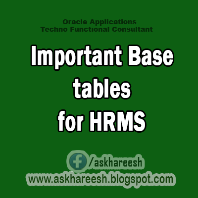 Important Base tables for HRMS,AskHareesh Blog for OracleApps
