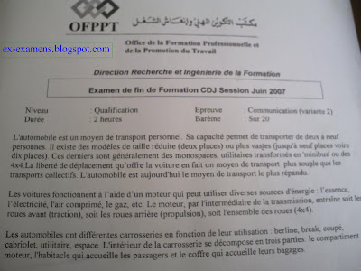 Examen de Fin de Formation Communication Qualification V 2