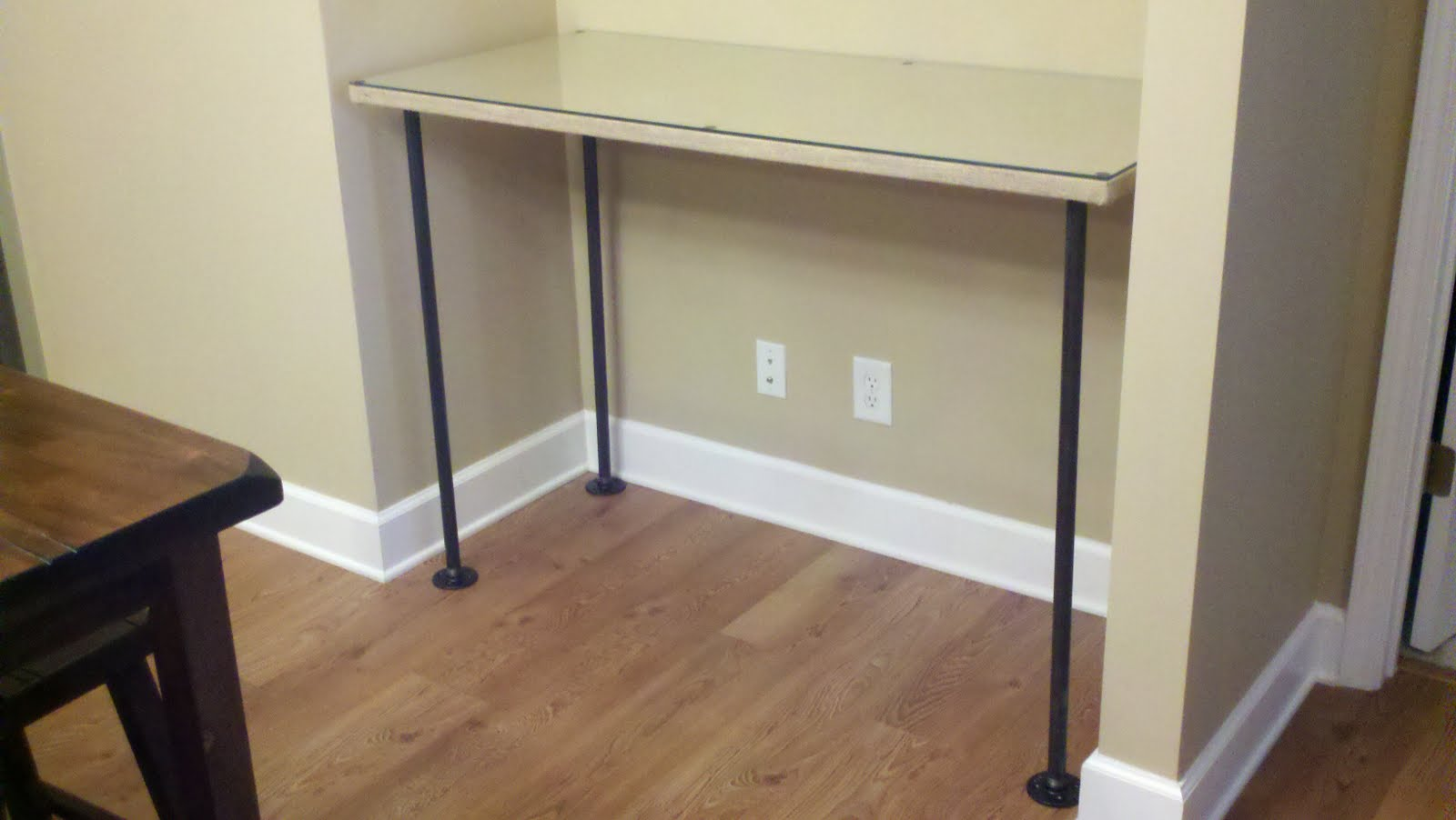 I Needed A New Desk For My Stationary Making And Work Desk. I Used An Old  Table Top I Had From Container Store, Burlap, Flanges And Piping From Home  Depot.