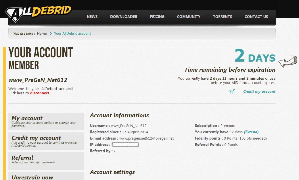 free alldebrid premium account