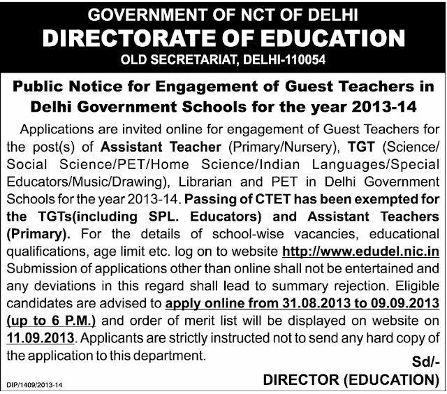 Delhi Guest Teacher 2013 at www.freenokrinews.com
