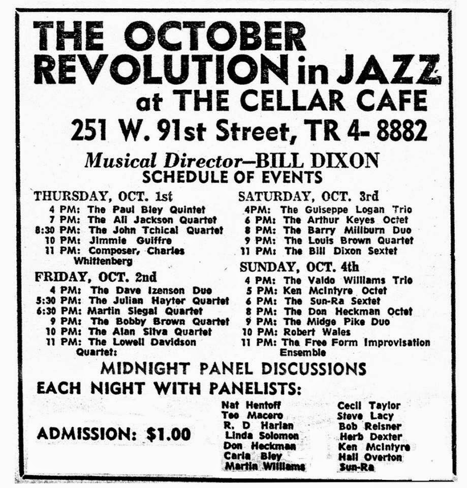 Bill Dixon's OCTOBER REVOLUTION IN JAZZ, 1964