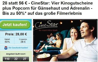 Groupon: 4 mal Cinestar inklusive 75g Popcorn für 28 statt 56 Euro