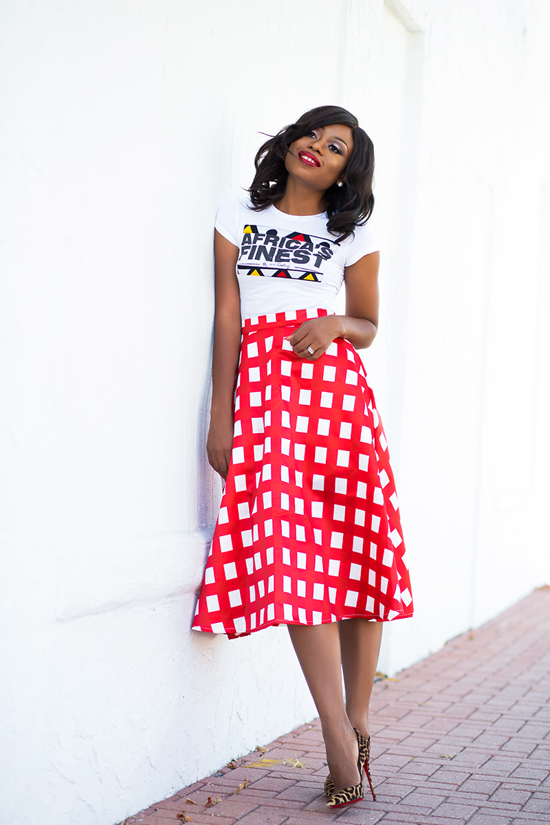 Chicwish midi skirt, ankara tee, Christian Louboutin pumps, jadore-Fashion