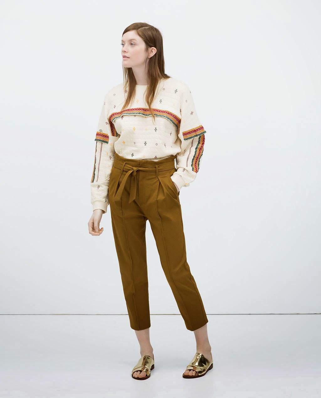 pantalon cintura alta con lazada zara SS 15