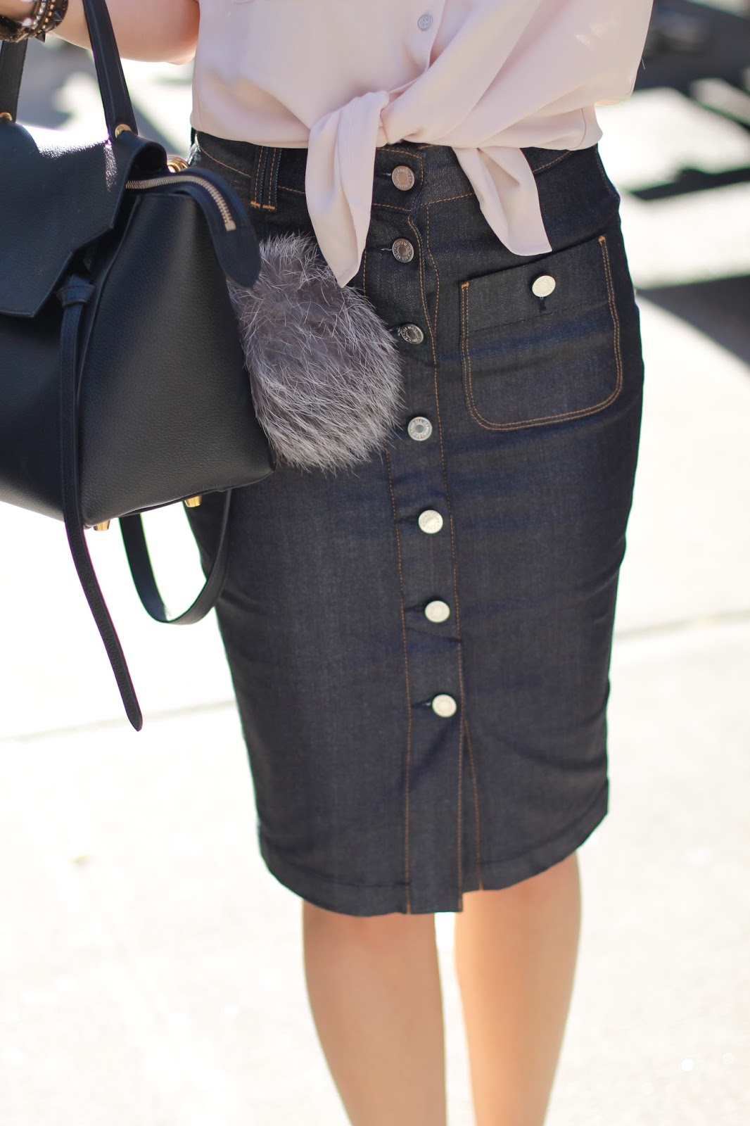 BUTTON FRONT DENIM SKIRT | DRESSED FOR DREAMS