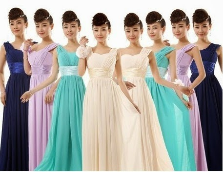 Single/Double Shoulder Strap Satin Waistband Bridesmaids Dress