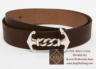 Thắt Lưng Mỏ Neo Dây Nâu Khóa Bạc | ASOS Leather Anchor Belt