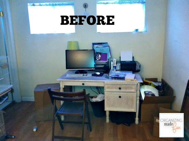 Before - unorganized home office:: OrganizingMadeFun.com