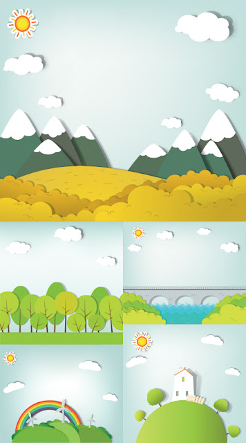 Vector Paper Applique - Landscapes