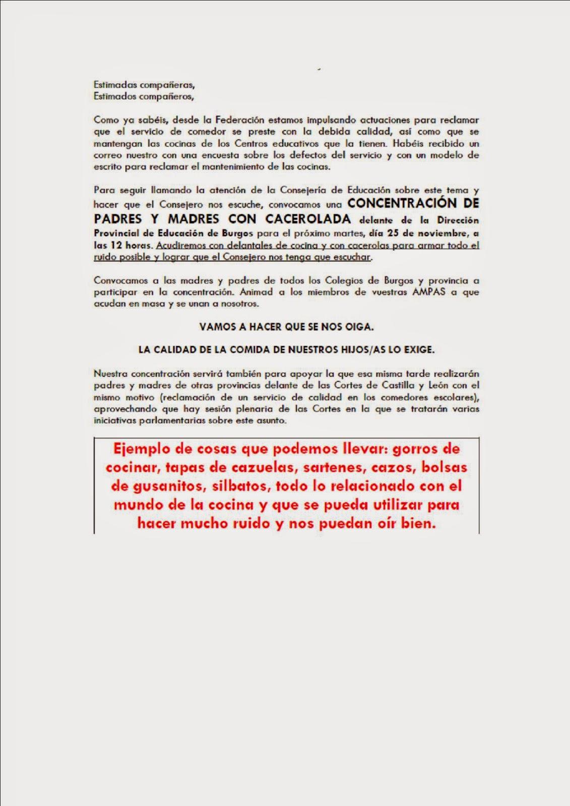 FAMPA Burgos: CONCENTRACIÓN POR COMEDORES ESCOLARES DE CALIDAD
