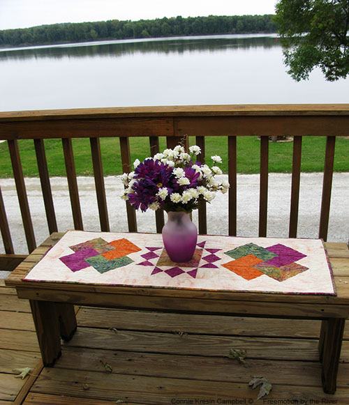 Tuscany Sun Table Runner out on the deck