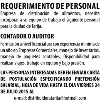 Empresa requiere de Contador o Auditor