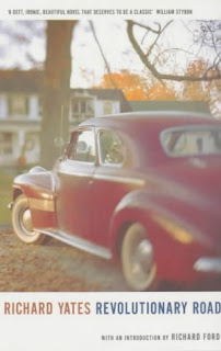 The cover of Revolutionary Road. It is a picture of a 50s-era care parked in front of a home. The image is slightly blurred and yellowed to look like an old photograph.