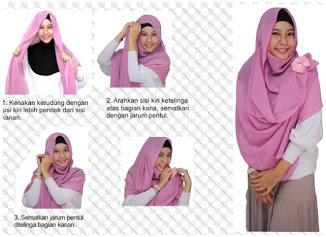 Gambar Tutorial Cara Pakai Hijab Modern Syar'i Terbaru