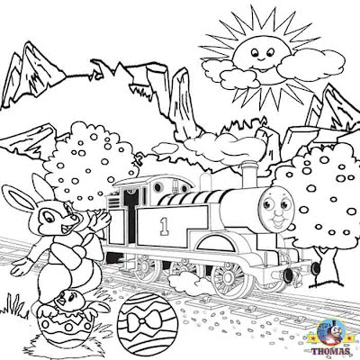 Free Printable Easter worksheets Thomas the train coloring pages for kids cute bunny Easter pictures