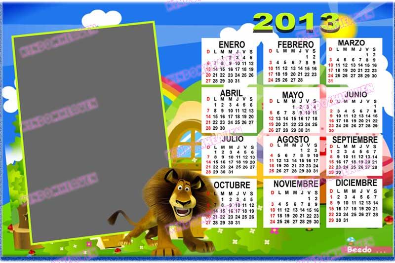 calendario psd 2013 madacascar infantiles