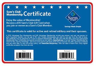 Military Store Deals Sam S Club 15 Gift Card For Military When You Join Or Renew Membership