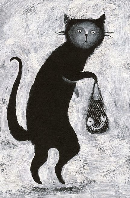 black and white illustration of a cat and a fishbone by Elena Lishanskaya