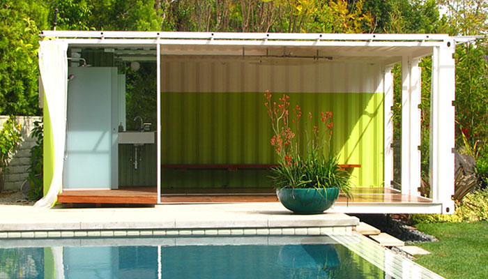 Shipping Container Homes IC Green Container Pool Changing Room