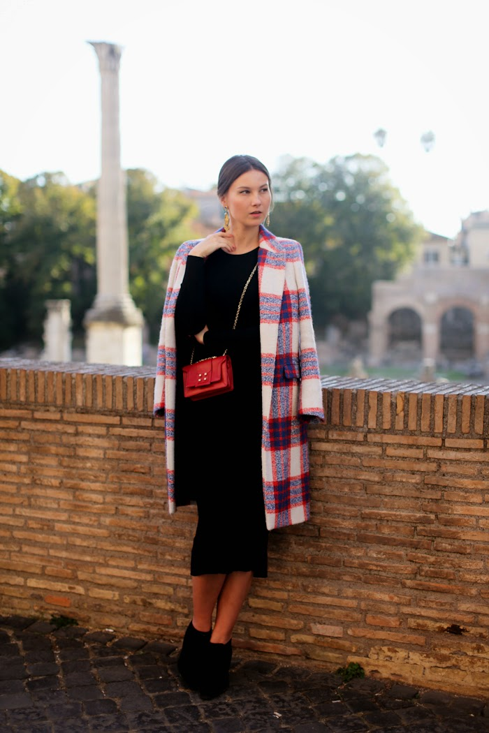 wool black dress, check print coat, manurina bag
