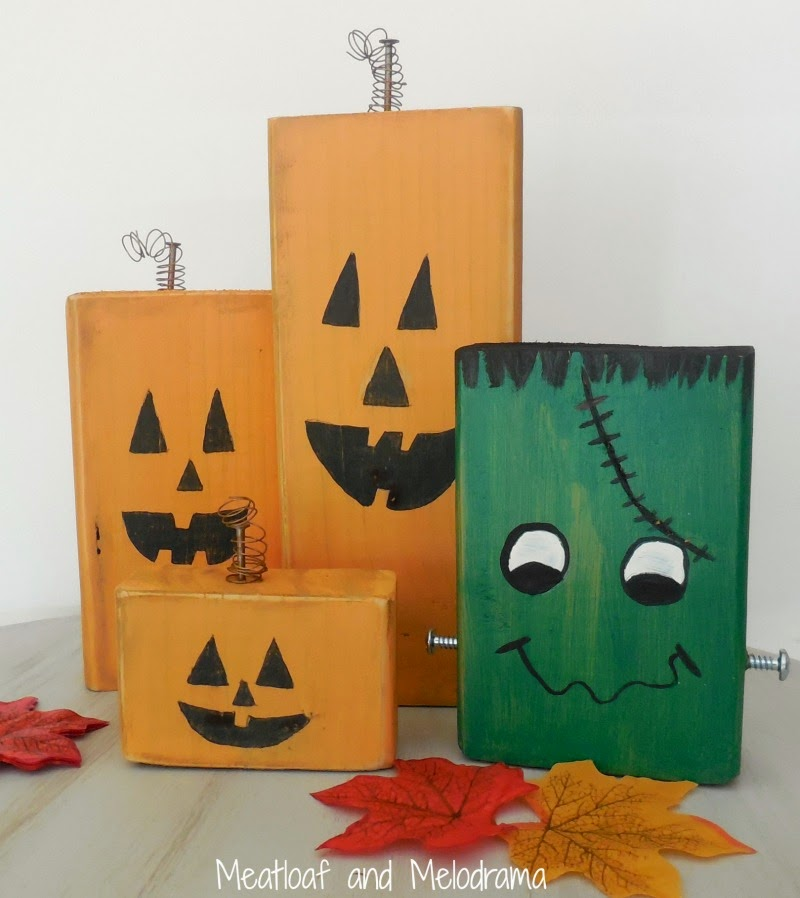 rustic wood pumpkin family and frankentstein made from wood blocks