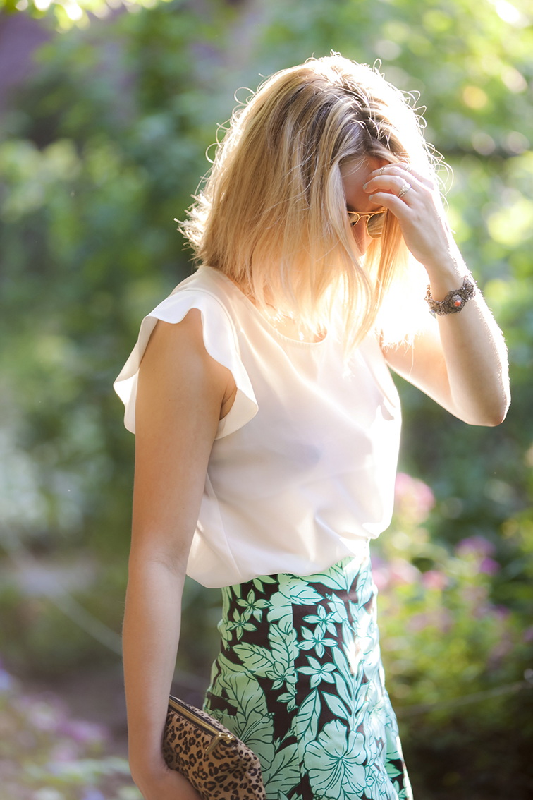 Golden hour in the West Side Community Garden, white silk blouse, print high waisted shorts, j.crew leopard print pouch, pattern mixing