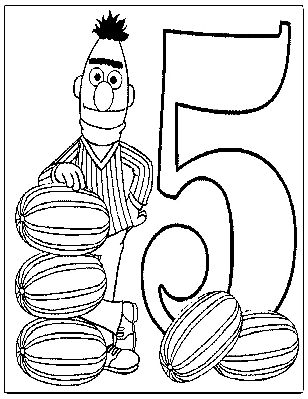Sesame street coloring pages number 5 coloring pages for Sesame street number coloring pages