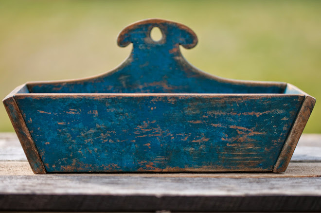 Blue Reproduction Ram's Horn Wall Box