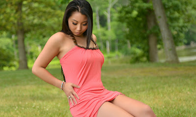 Jolie Starr Enjoying the Outdoors in her Sexy Pink Dress