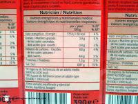 Información nutricional del tomate frito DIA.