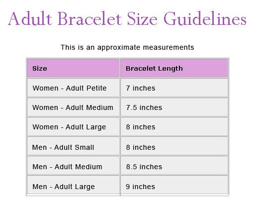 Jewelry design shop bracelet size chart