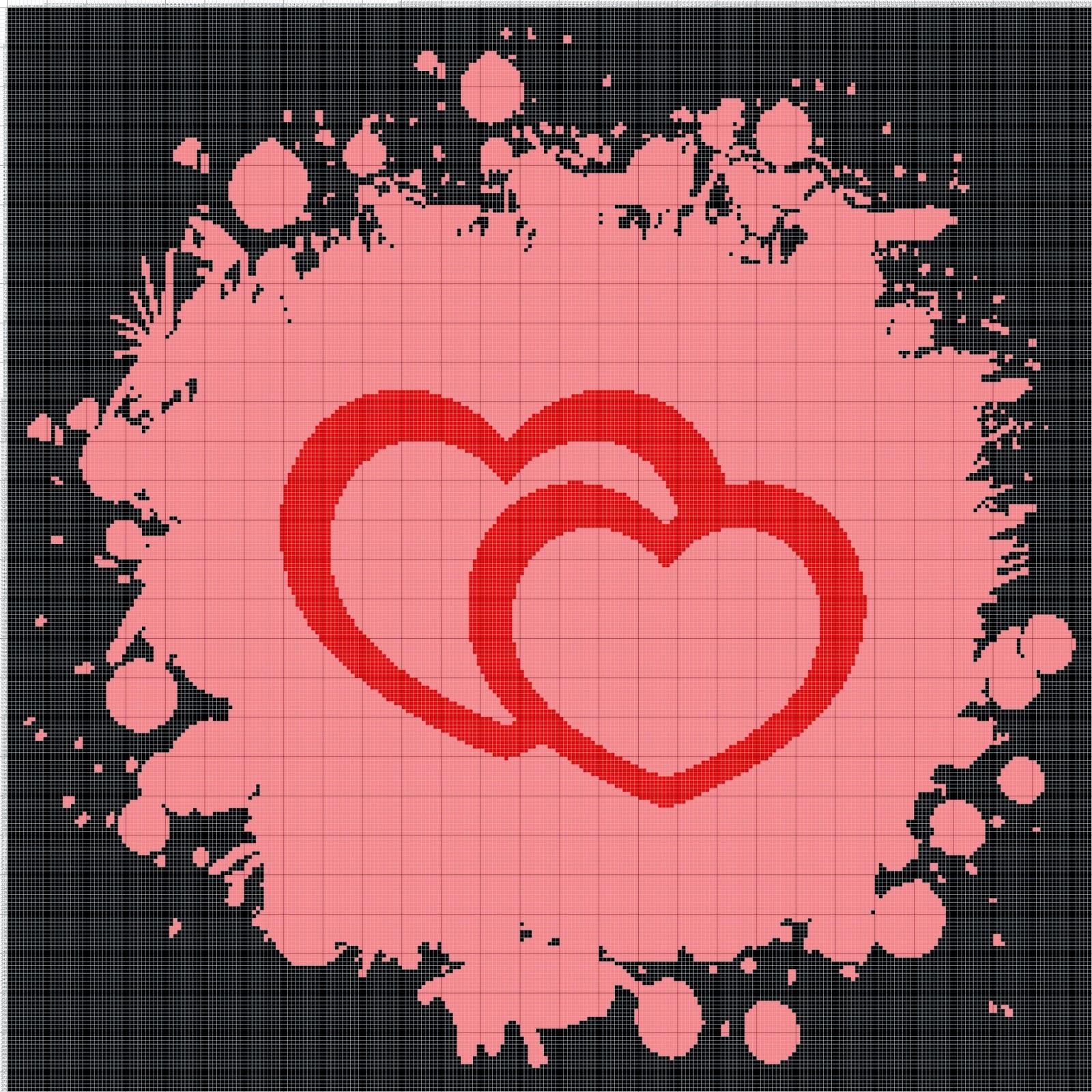 Gambar Pola Kristik Love - Cinta