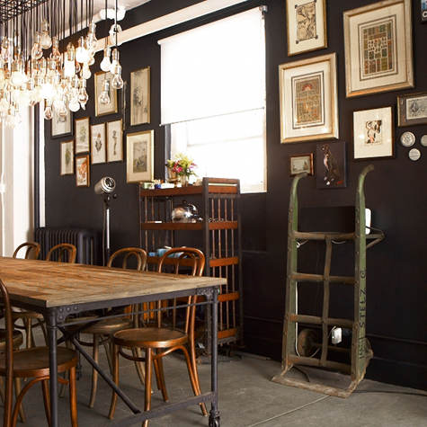 Braxton and yancey steampunk room d cor in 3 styles for Industrial interior design lighting