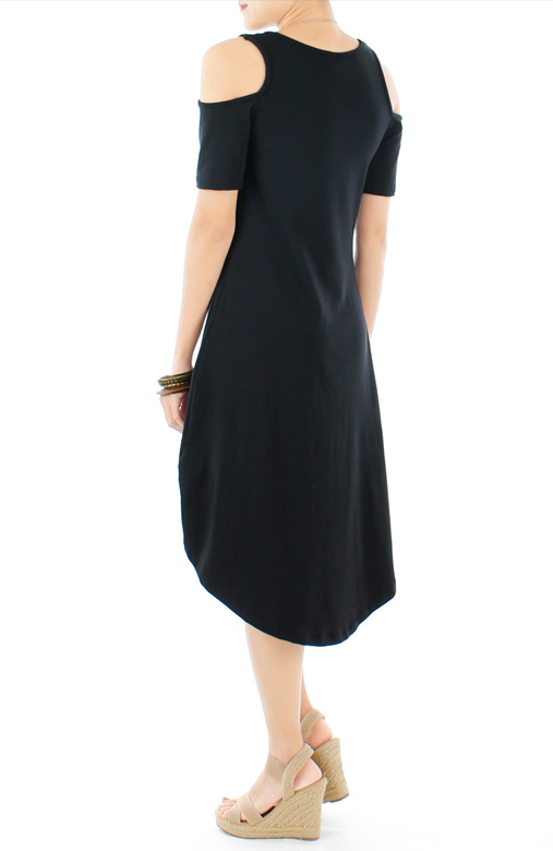 Lounge Dip Back Cut-out Dress with Sleeves in Black