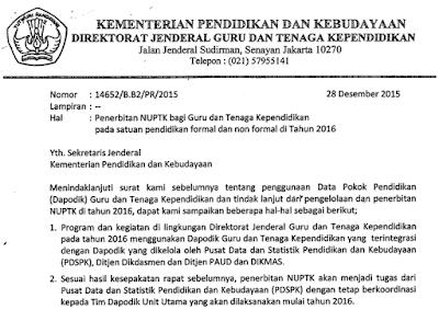 surat dirjen gtk perihal penerbitan teknis pembuatan penerbitan nuptk 2016