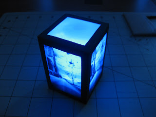 Completed LED paper lamp with blue LED.