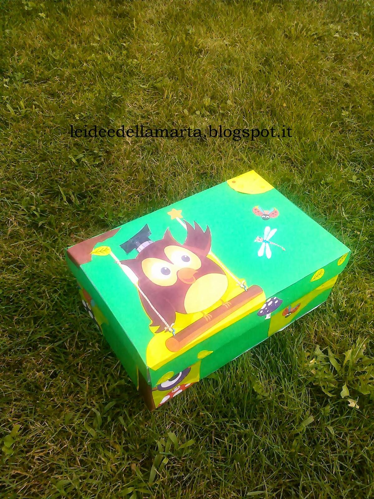 Le idee della marta scatola del gufetto come riciclare for Come costruire i passaggi della scatola