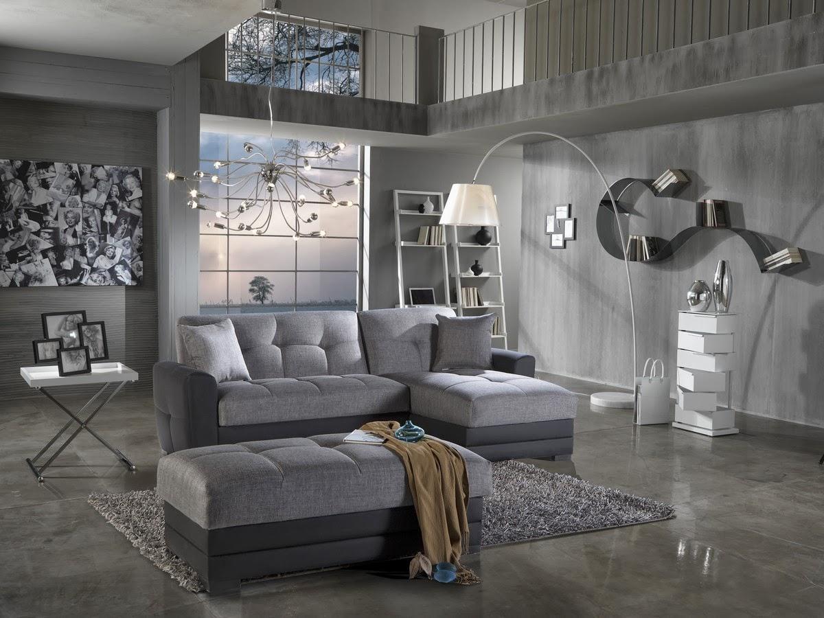 de sala color gris  La degradación de color gris en paredes, muebles