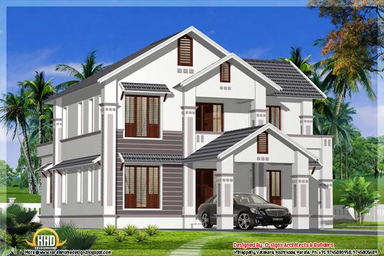 2400 square feet sloped roof house Kerala - May 2012