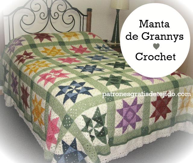 Manta afgana diseño patchwork al crochet