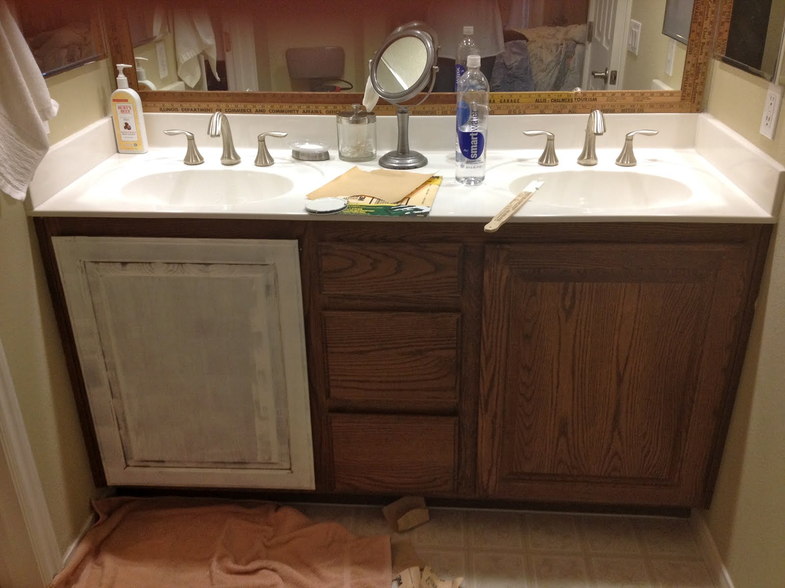 Vintage marketplace white redirection bathroom redo - How to redo bathroom cabinets for cheap ...